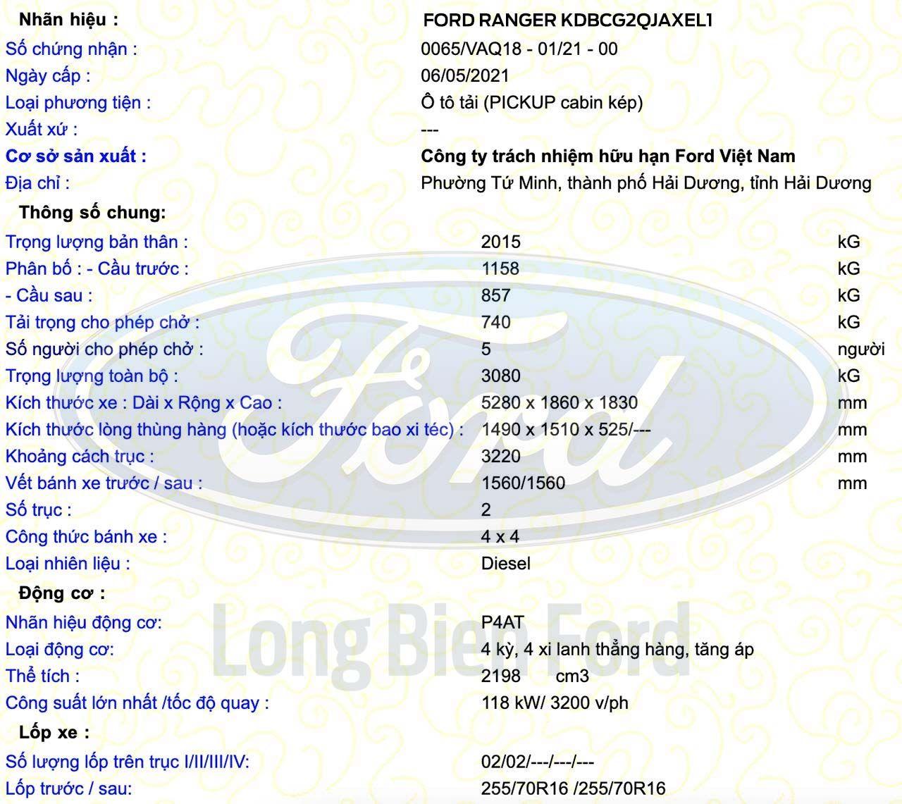 Ford Ranger 2021 bản lắp ráp tại Việt Nam đã được đăng kiểm, sẵn sàng phục vụ Quý Khách hàng